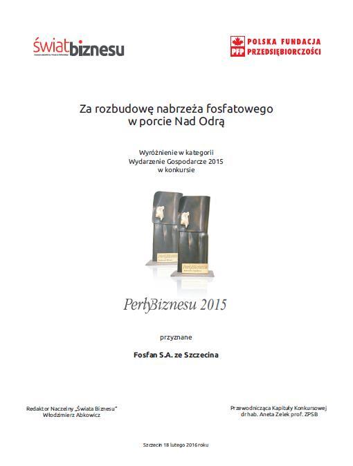 Dyplom_Perły Biznesu_wyróżnienie_Fosfan S.Aze Szczecina